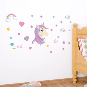 Sticker perete Unicorn si Curcubeu