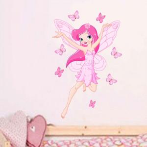Sticker perete Zana Florilor roz 2