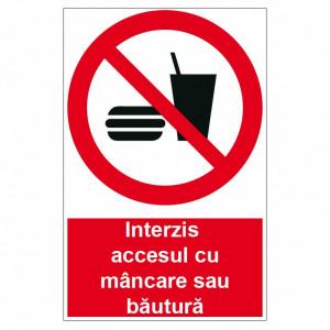 Sticker indicator Interzis accesul cu mancare si bautura