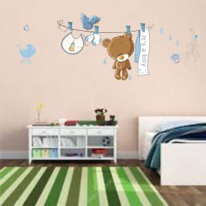 Sticker perete Blue Bear Baby Shower