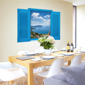 Sticker perete Greek Island 3D Window