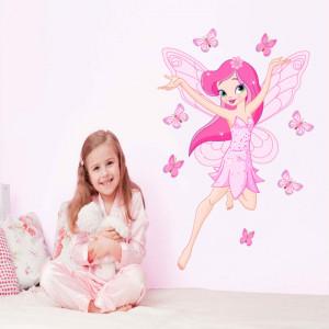 Sticker perete Zana Florilor roz