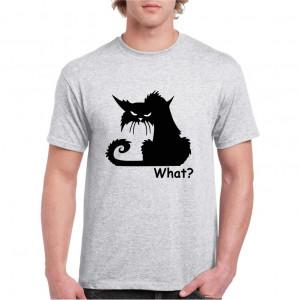 Tricou personalizat barbati gri Crazy Cat S