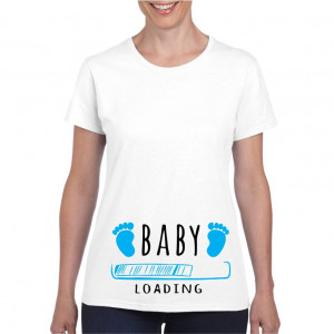 Tricou personalizat dama alb Baby is Loading Blue