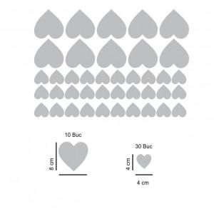 Set stickere perete Inimioare Argintii