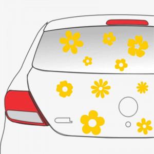 Sticker auto Flori 10 buc/ set Galben