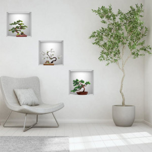Sticker decorativ Bonsai 3D - 3 buc/set