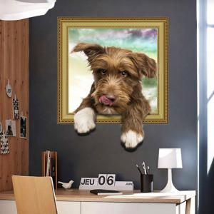 Sticker decorativ Here I am 3D Dog 50x40cm