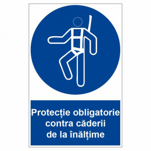 Sticker indicator Protectie obligatorie contra caderii de la inaltime