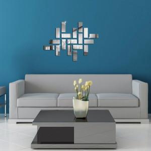 Sticker perete 3D Bricks Mirror Silver