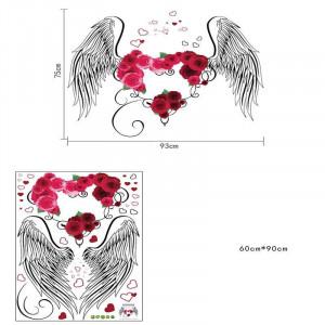 Sticker decorativ Aripi de Inger cu o inima din trandafiri 5
