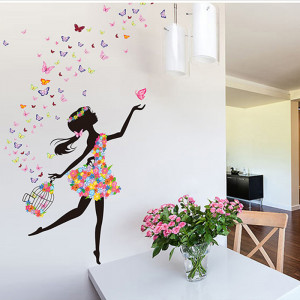Sticker perete Fata cu Fluturi ce ies din colivie 3