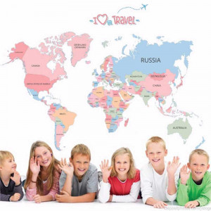 Sticker perete Harta Politica a Lumii