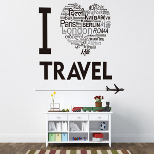 Sticker perete I love to travel