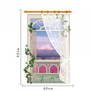 Sticker perete Mountain View 3D Window