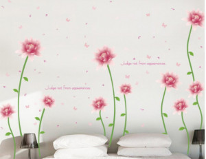 Sticker perete Romantic pink blooming flower 60x90cm