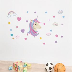 Sticker perete Unicorn si Curcubeu