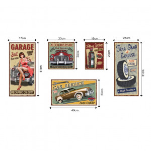 Sticker perete Vintage car plates