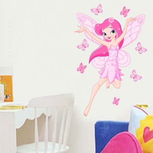 Sticker perete Zana Florilor roz 3
