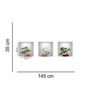 Sticker decorativ Bonsai 3D - 3 buc/set