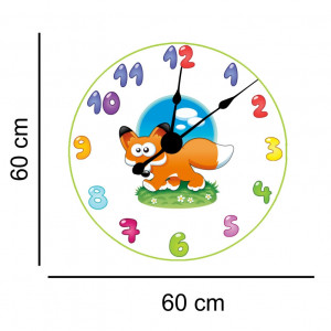 Sticker decorativ ceas copii cu vulpe
