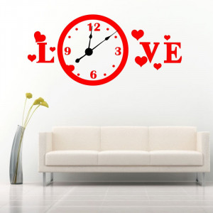 Sticker decorativ ceas Love