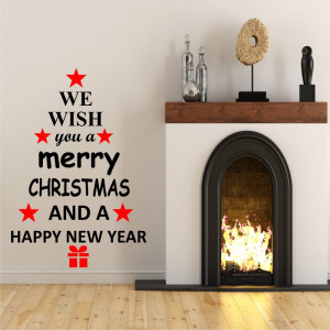Sticker decorativ We Wish You a Merry Christmas