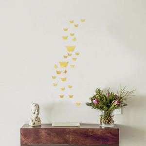 Sticker perete 3D Mirror Gold Butterflies