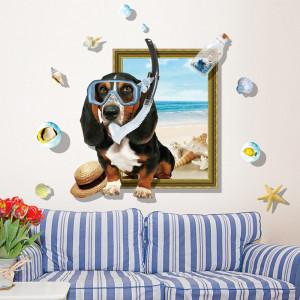 Sticker perete Dog on the Beach 3D