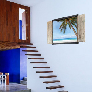 Sticker perete Isula Tropicala 3D Window