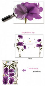Sticker perete Purple Rose Garden