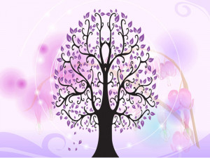 Sticker perete Purple Tree