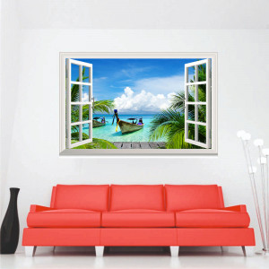 Sticker perete Tropical Island 3D Window