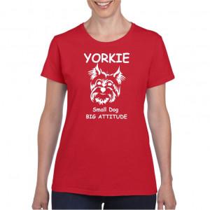 Tricou personalizat dama rosu Yorkie