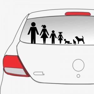 Sticker auto Familie in Masina