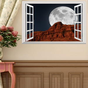 Sticker perete 3D Window Moon