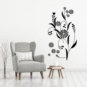 Sticker perete Black Flower Decor 5