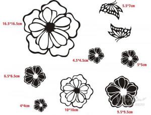 Sticker perete Black Flowers