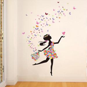 Sticker perete Fata cu Fluturi ce ies din colivie 4
