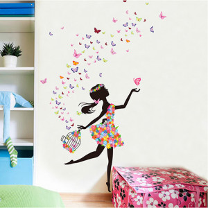 Sticker perete Fata cu Fluturi ce ies din colivie 5