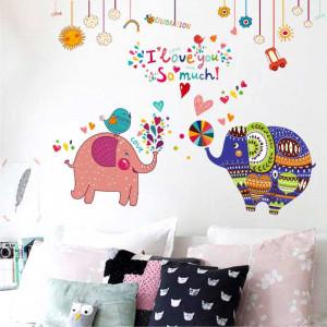 Sticker perete Elefanti Colorati