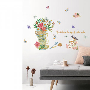 Sticker perete Flowers & Cups