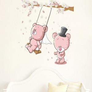Sticker decorativ pentru perete ursuleti roz in leagan