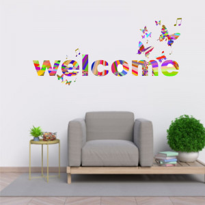 Sticker perete Welcome Curcubeu