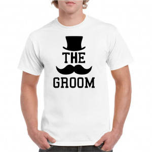 Tricou personalizat barbati alb The Groom 2 S