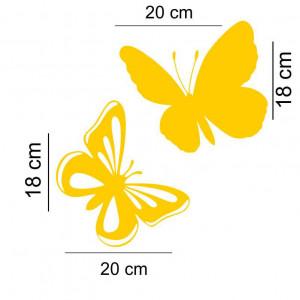 Sticker auto Fluturi 2 buc/set Galben