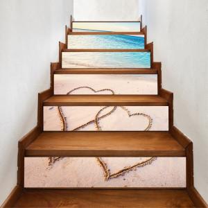 Sticker decorativ scari / perete Inimi pe Nisip