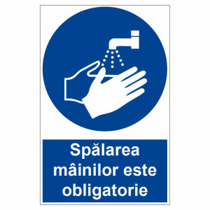Sticker indicator Spalarea mainilor este obligatorie