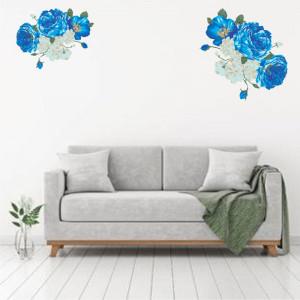 Sticker perete Bujori Albi si Albastru
