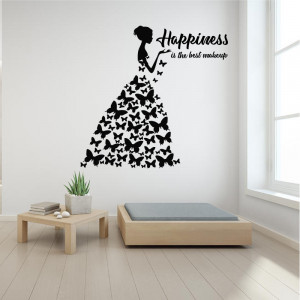 Sticker perete Happiness is the best Makeup